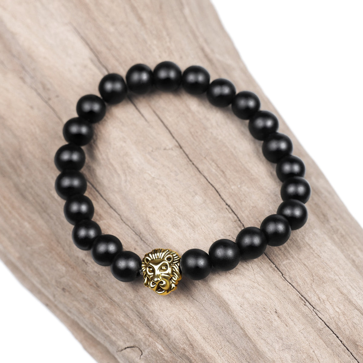 Black Agate Bracelet with a Lion Head Charm