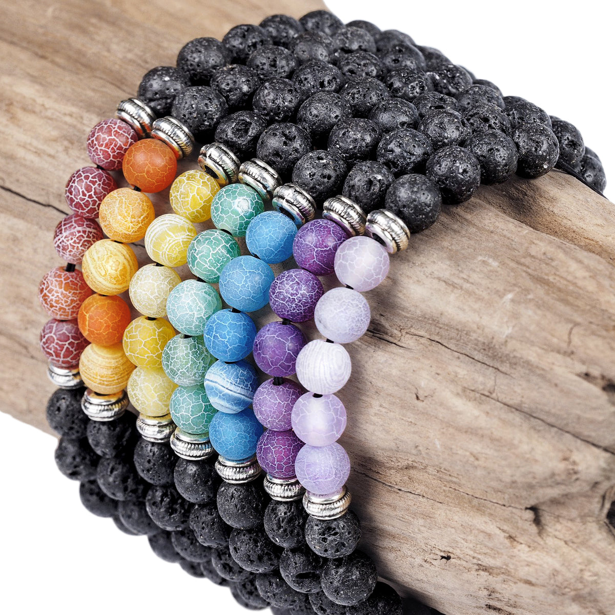 7 Chakra Bracelet Set with Lava and Agate Stones