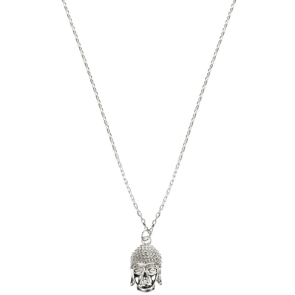 Inner Peace Sterling Buddha Head Pendant Necklace - Silver