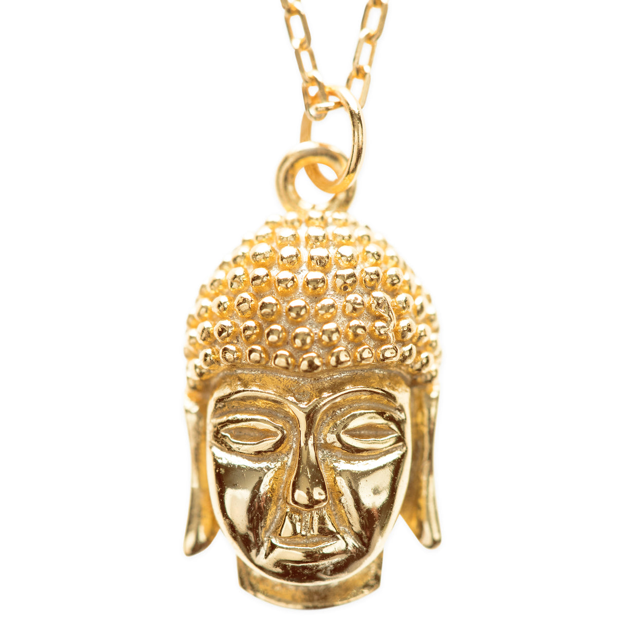 Inner Peace Sterling Silver Buddha Head Pendant Necklace