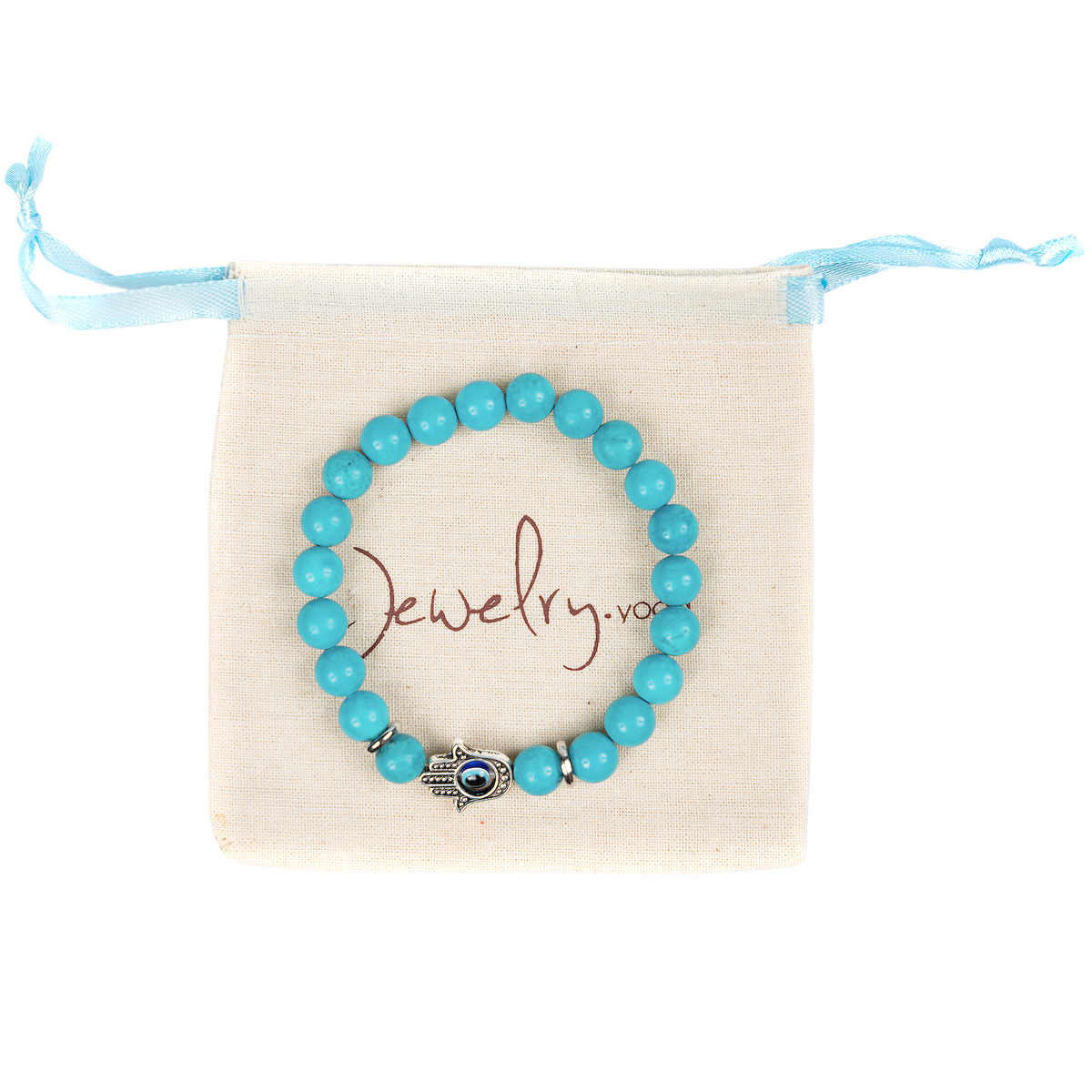 Protective Turquoise Bracelet with Hamsa Hand and Third Eye Charm