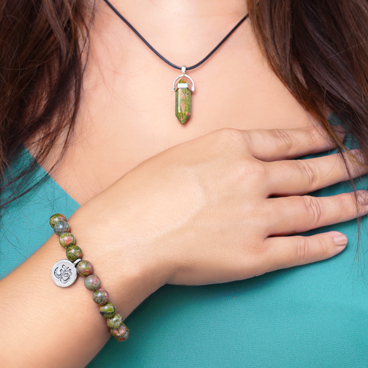 Calming Unakite Bracelet and Necklace Set