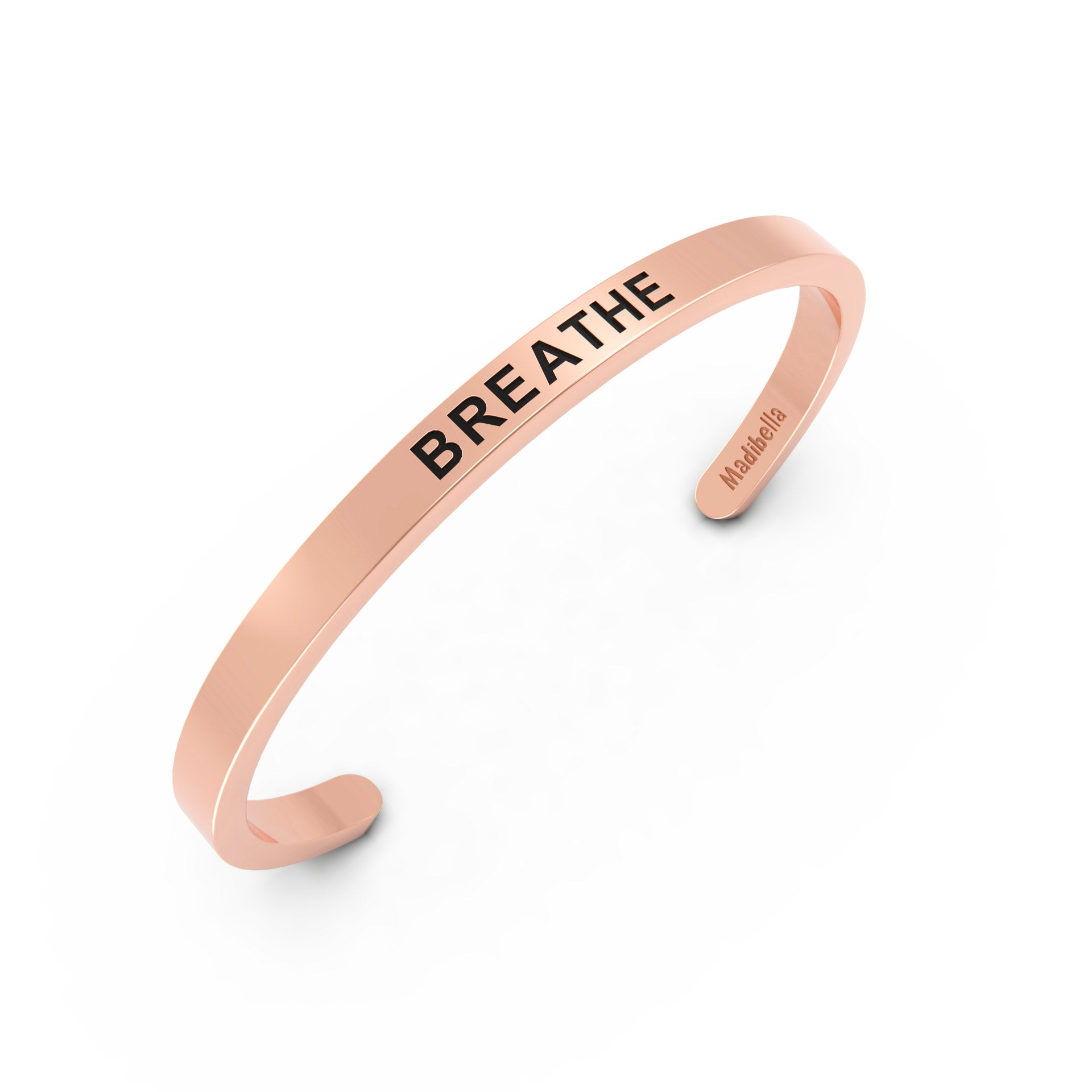 breathe rose gold stainless steel cuff bracelet for women