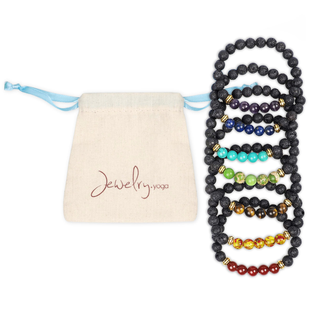 7 Chakra Bracelet Set with Lava and Authentic Stones