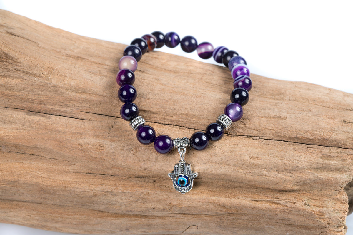 Purple Agate Bracelet with a Hamsa Hand