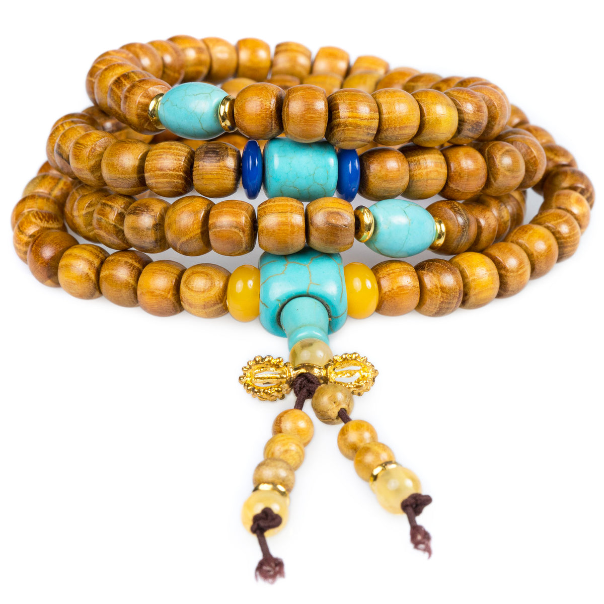 108 Mala with Aromatic Golden Sandalwood and Turquoise