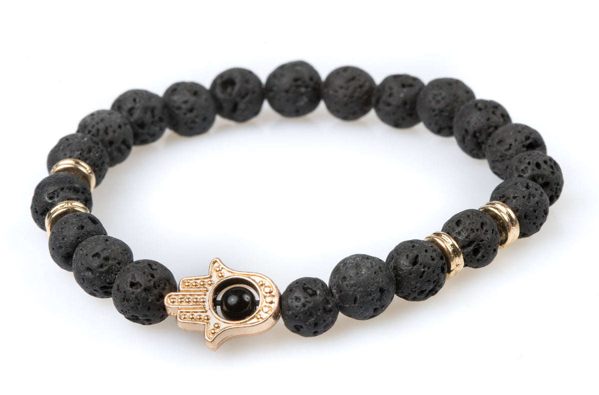 Black Lava Bracelet with Hamsa Hand