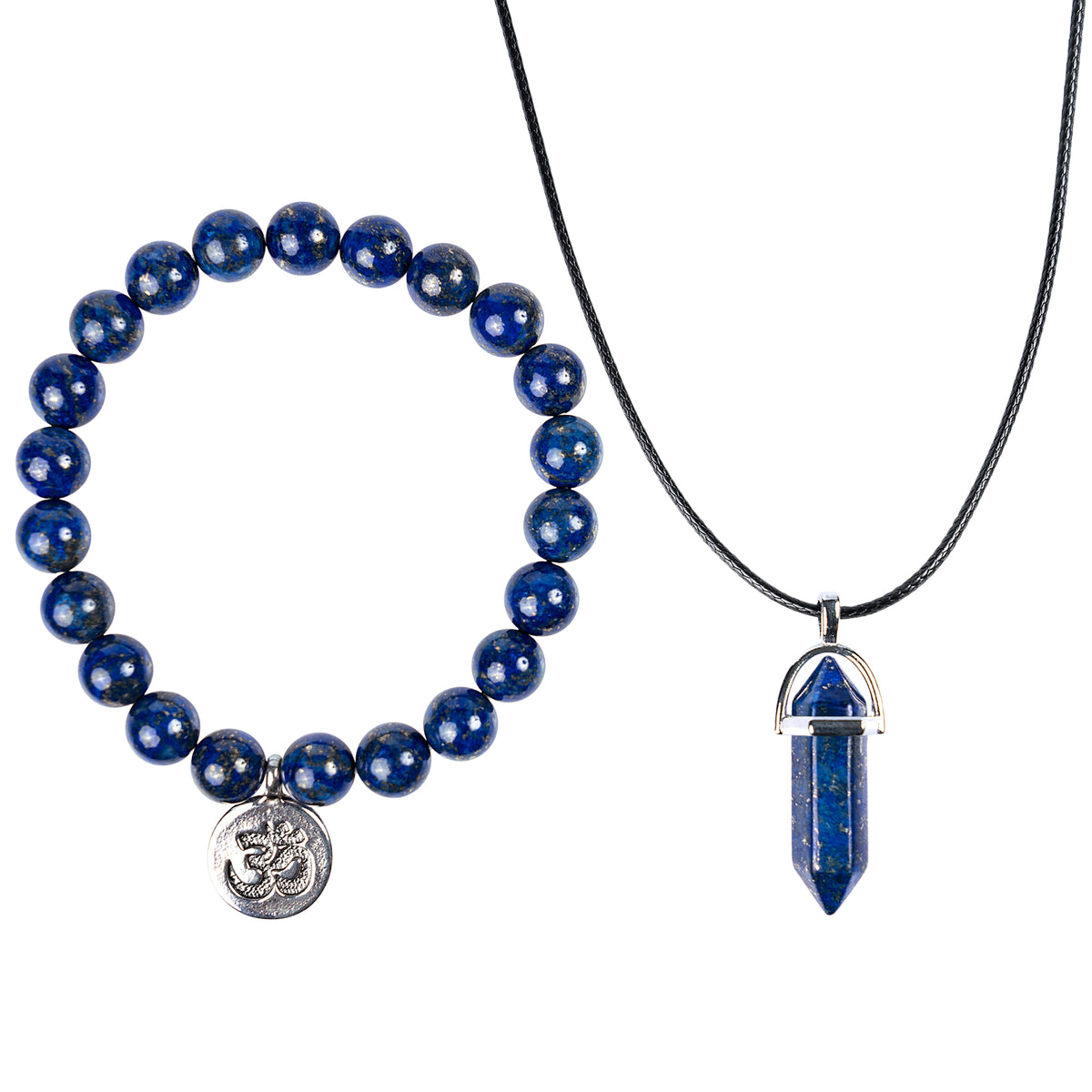 Energy-regulating Lazurite Bracelet and Necklace Set