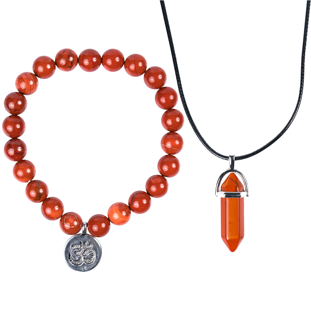 Anti-stress Red Jasper Bracelet and Necklace Set