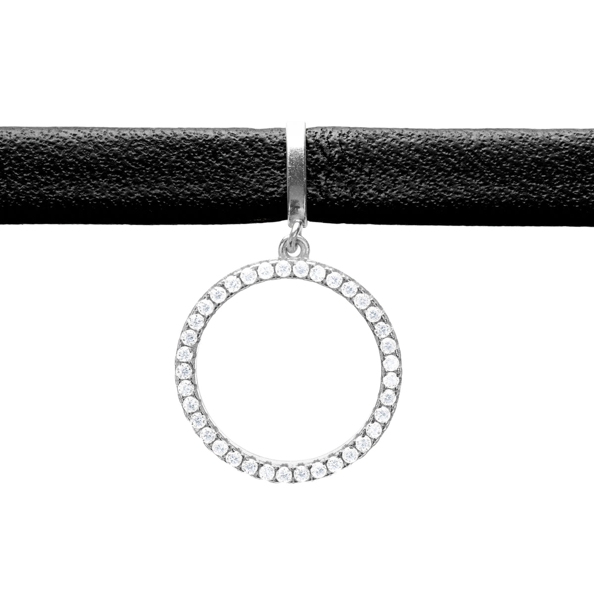 Black Choker Necklace Circle - Silver