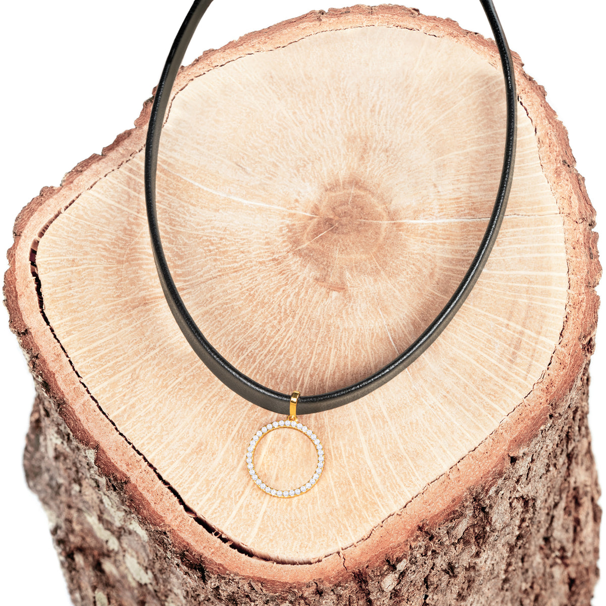 Black Choker Necklace Circle - Gold