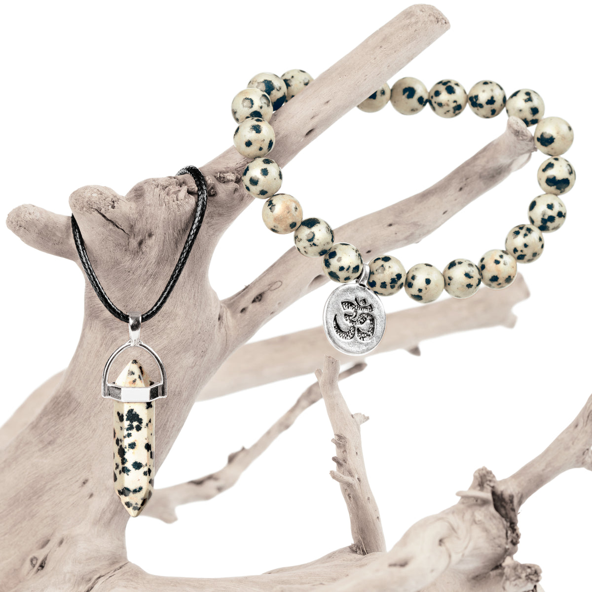 Dalmatian Jasper Bracelet and Necklace Set