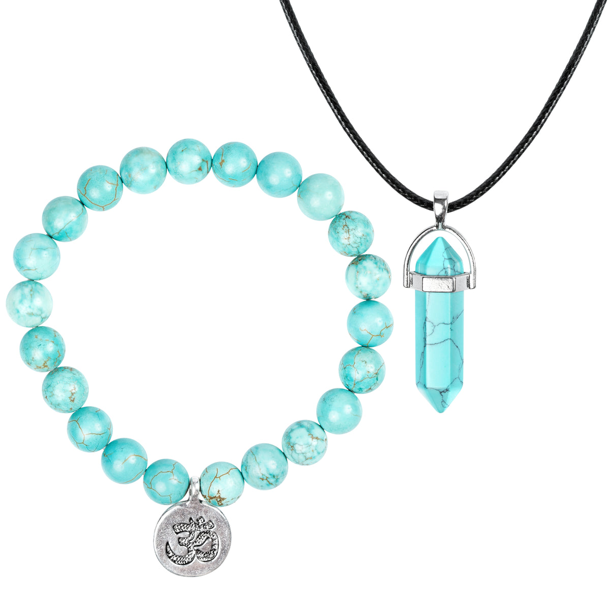 Blue Turquoise Bracelet + Necklace Set