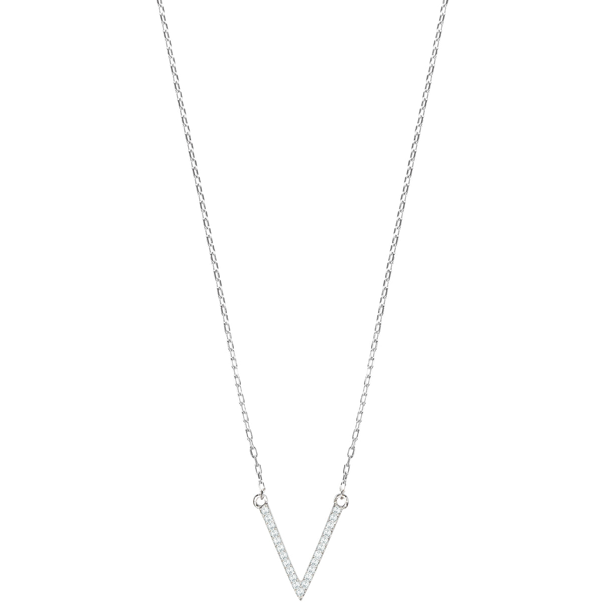 Sterling Silver V Charm Necklace