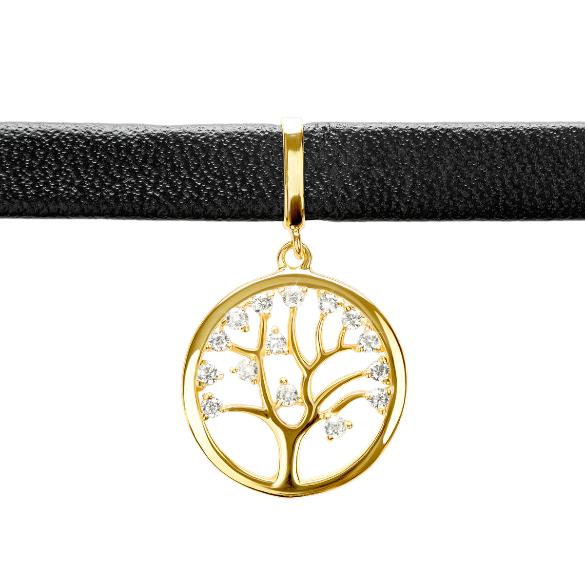 Black Choker Necklace with Tree of Life Pendant - Gold