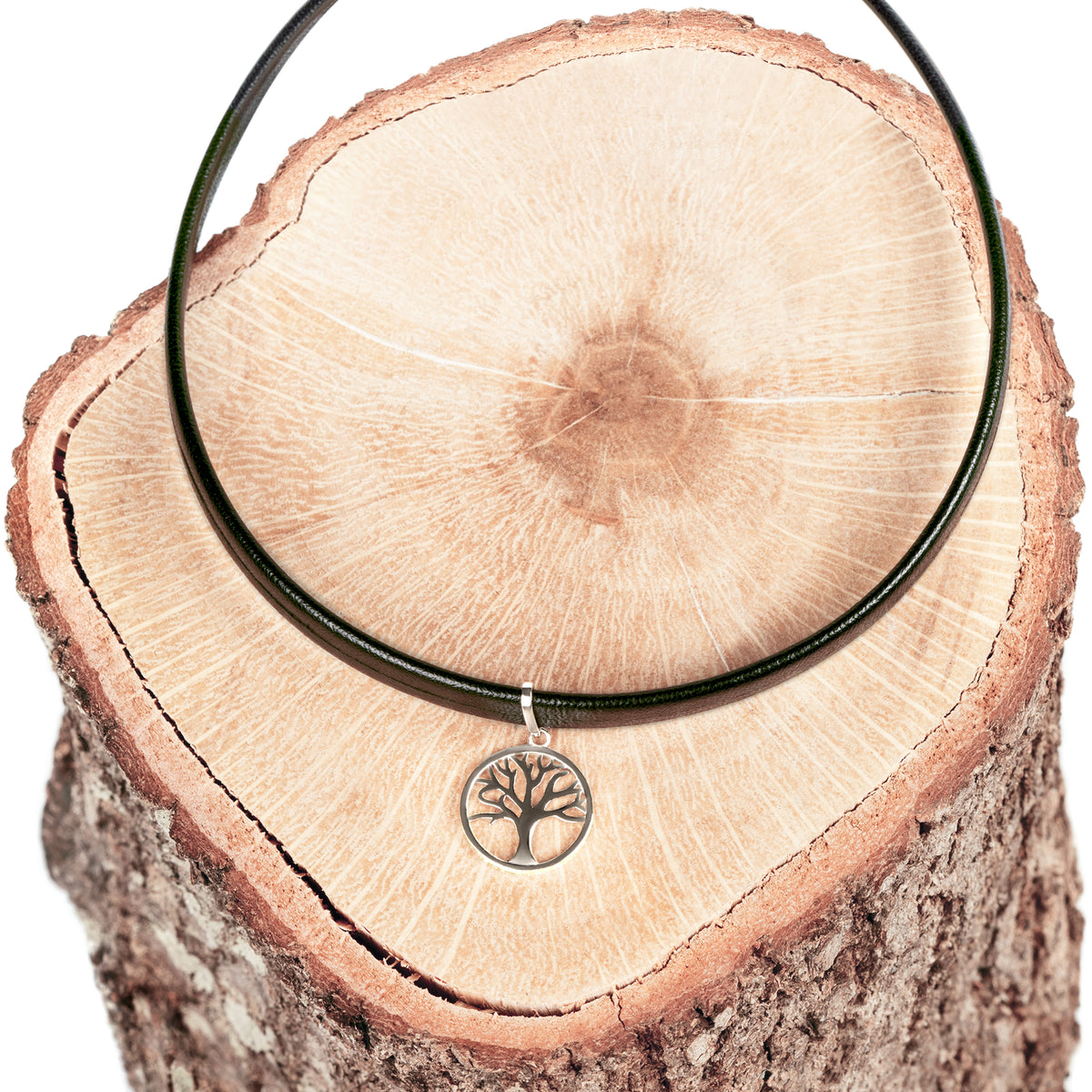 Black Choker Necklace with Tree of Life Pendant - Silver