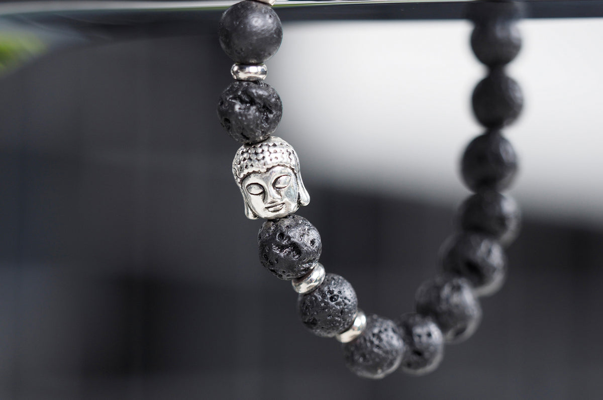 Black Lava Bead Mala Bracelet with Buddha Charm - 40% off