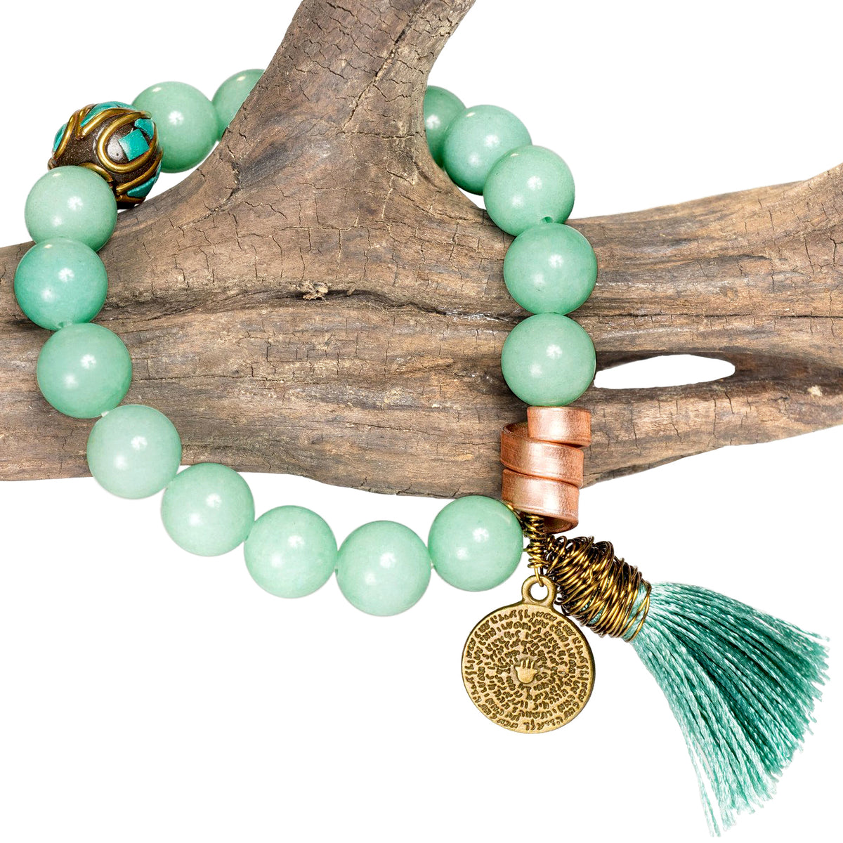 Amazon Stone Healing Mala Bracelet with Copper, Pendant and Blue-Green Tassel