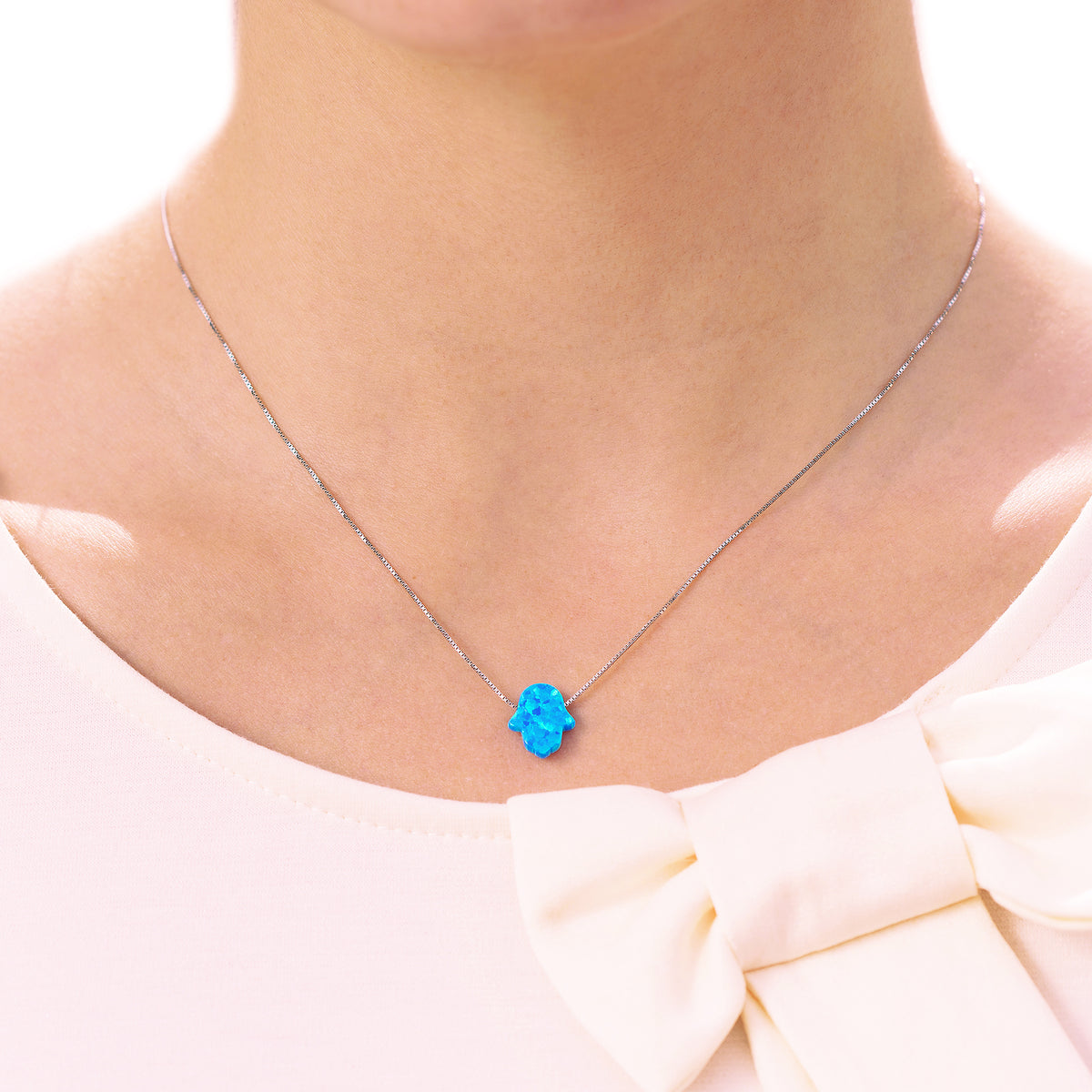 Good Luck Opal Hamsa Hand Necklace with Sterling Silver chain - Blue