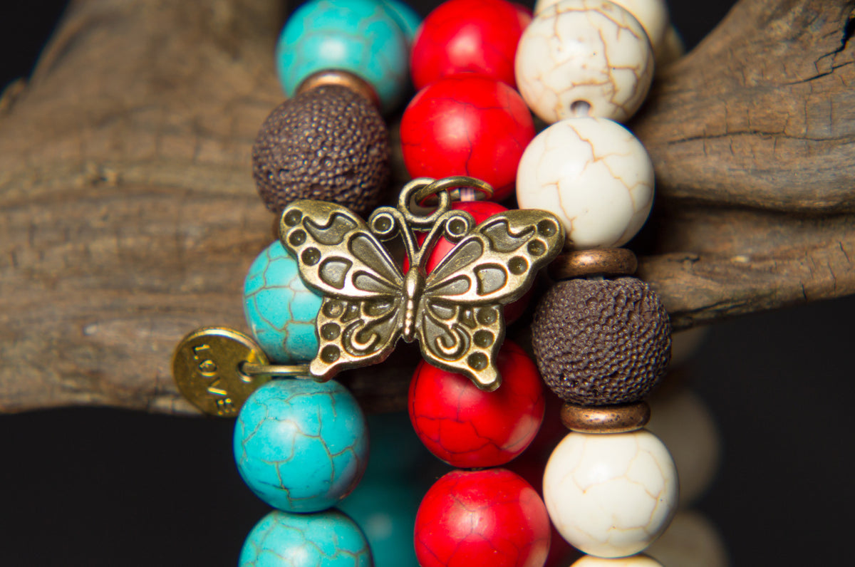 Howlite and Turquoise Beads with Butterfly and Love Charms