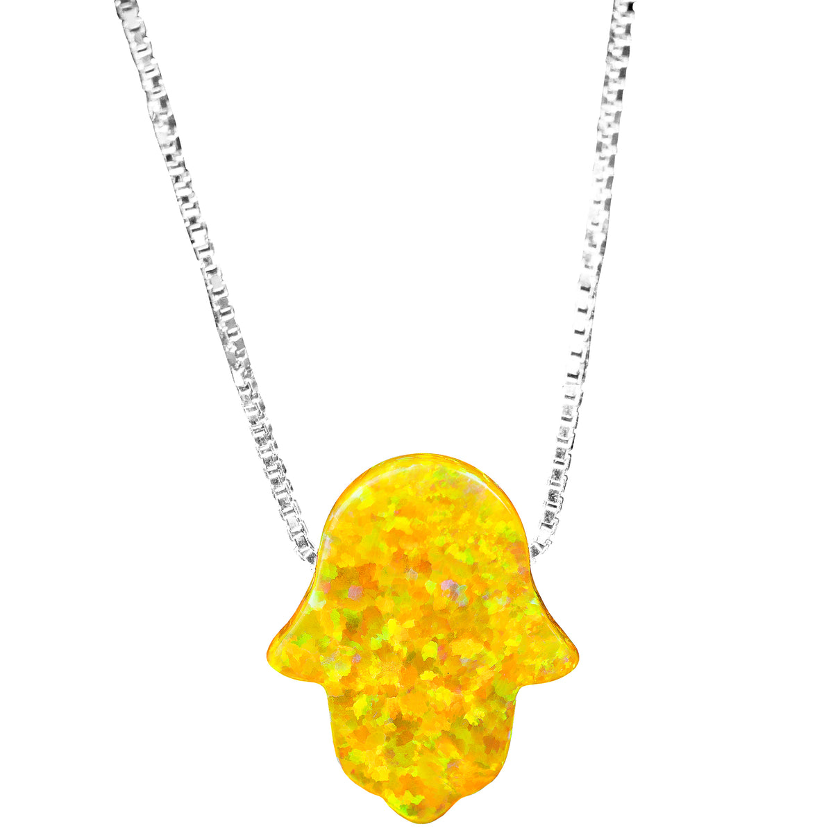 Good Luck Opal Hamsa Hand Necklace with Sterling Silver chain - Sunshine Yellow