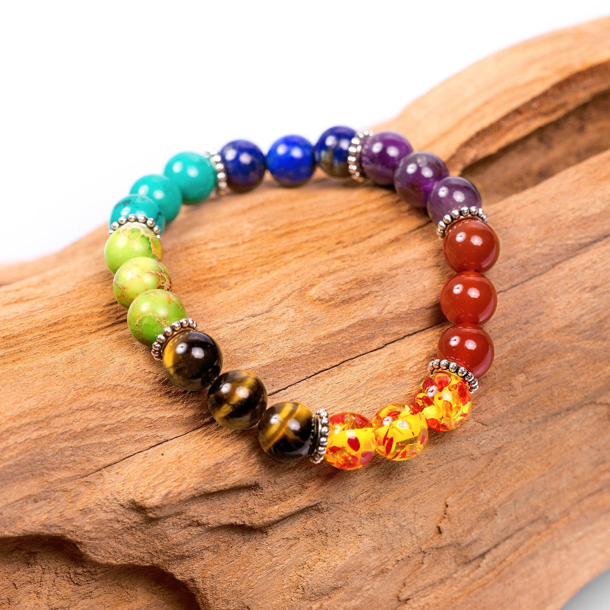 7 Chakra Healing Bracelet with Authentic Stones - 7 in