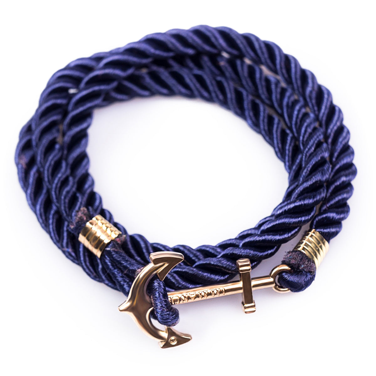 Adventurous Navy Anchor Wrap Bracelet