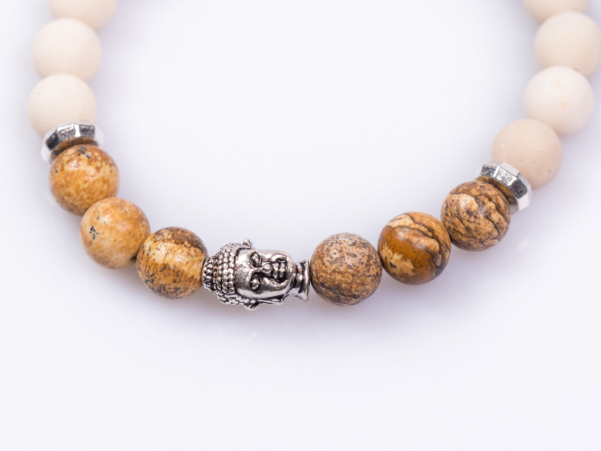 White Marble and Jasper Bracelet with Silver Buddha Bracelet