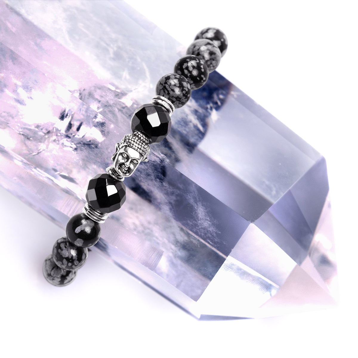 Cleansing Snowflake Obsidian Bracelet with Buddha Head Charm