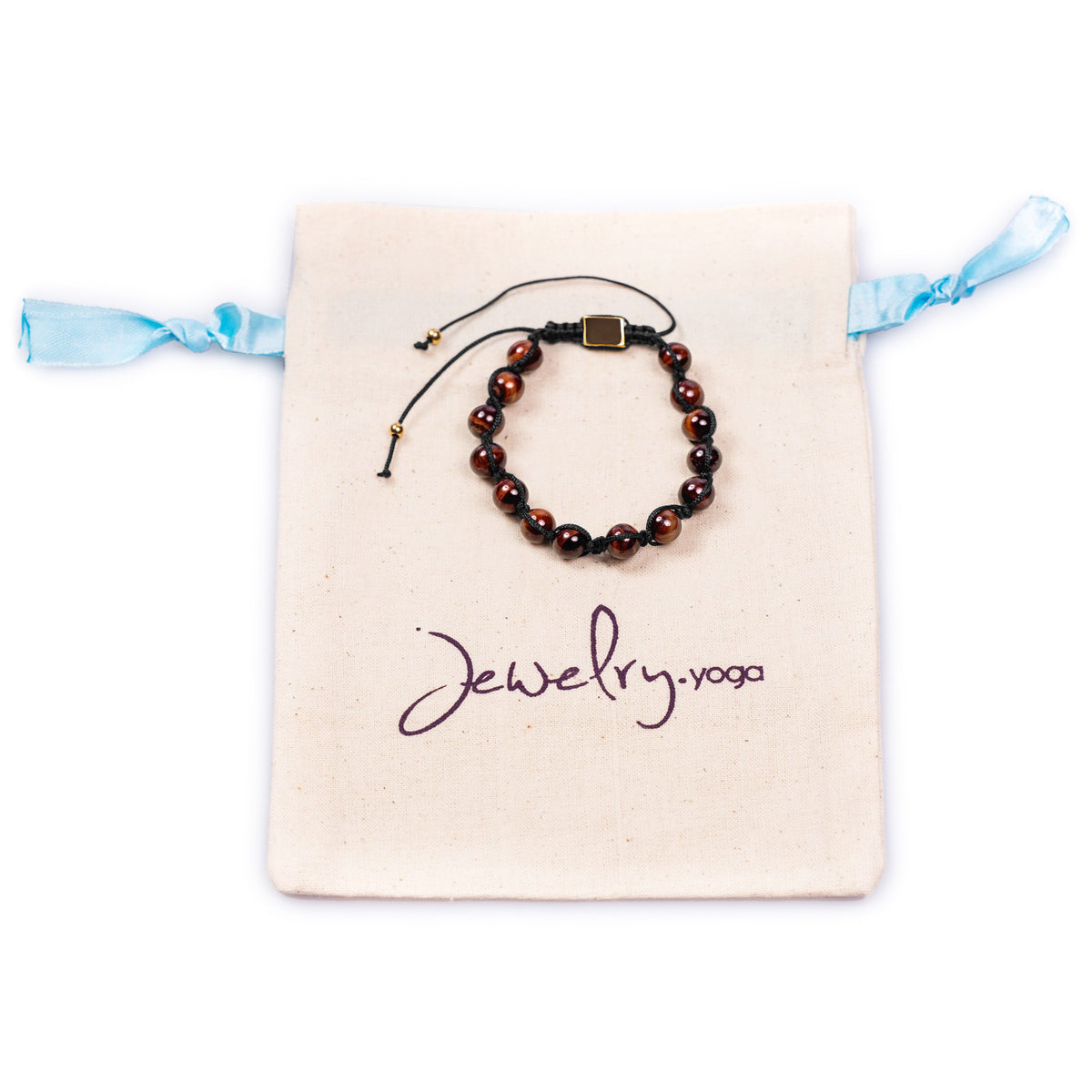 Tiger Eye Beaded Bracelet with Adjustable Golden Clasp