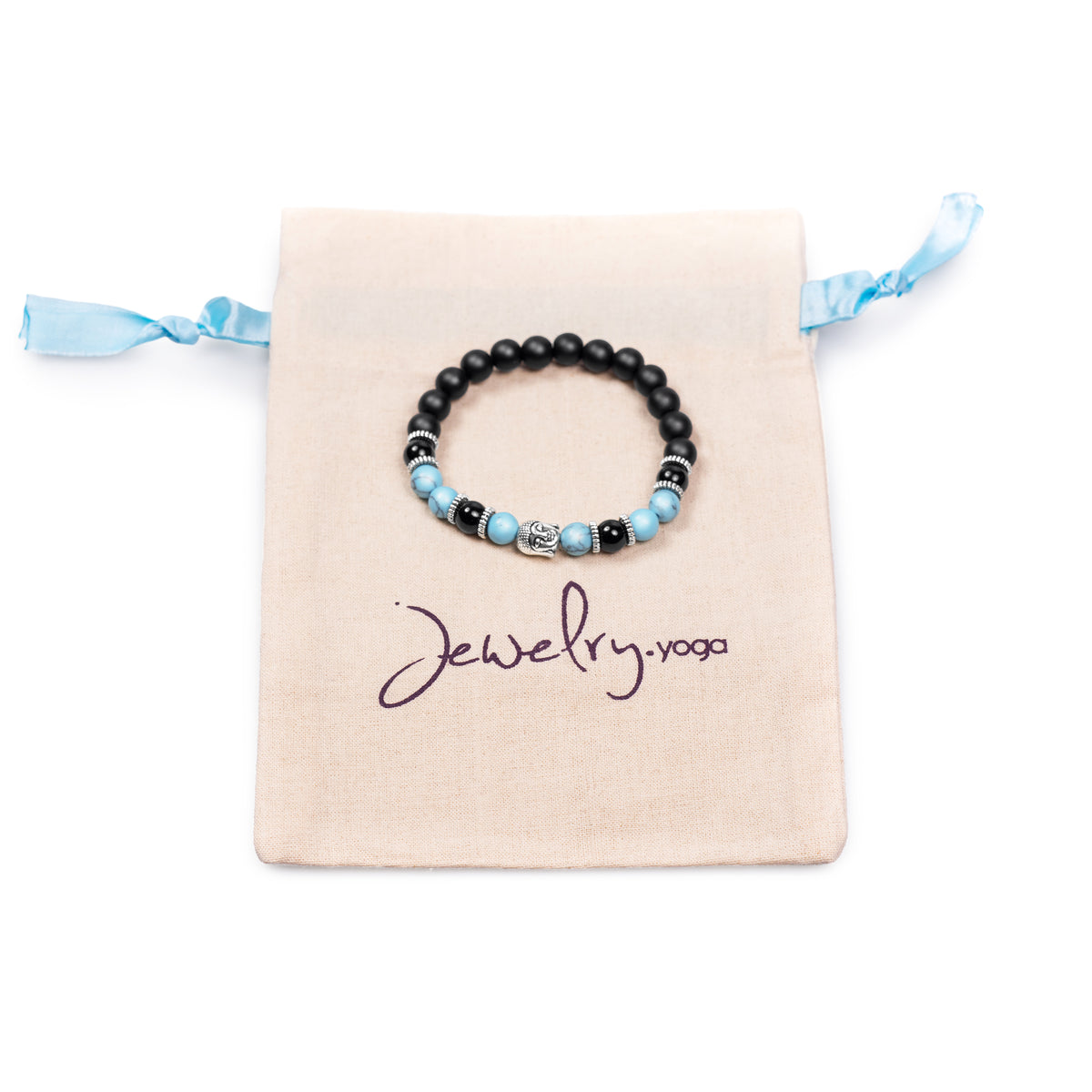 Blue Howlite and Black Bead with Silver Buddha Bracelet