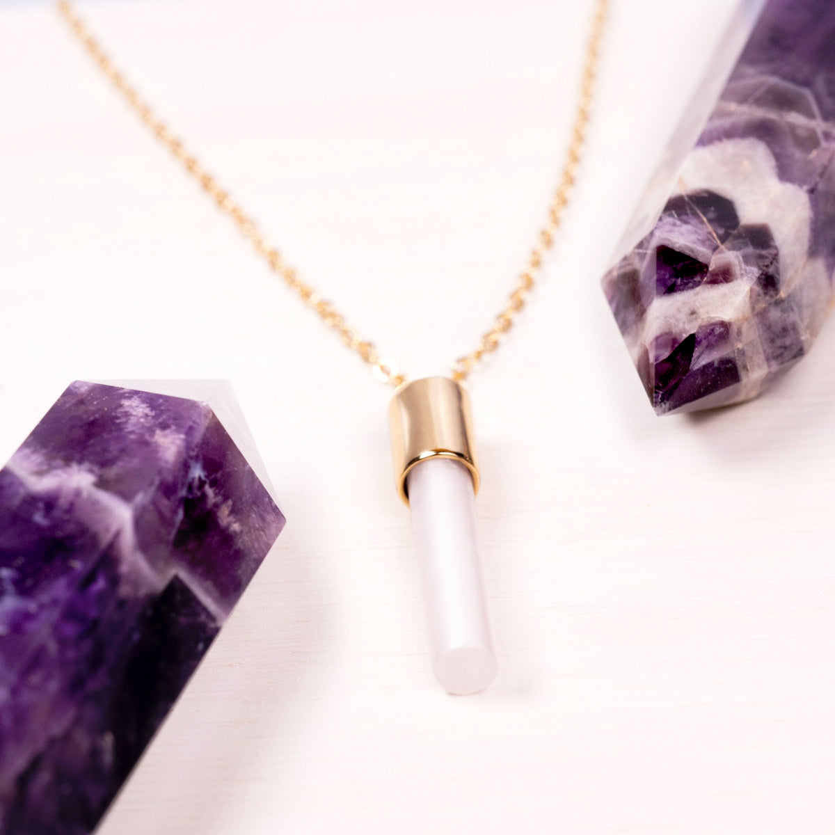 Pink Stone Crystal Column Necklace