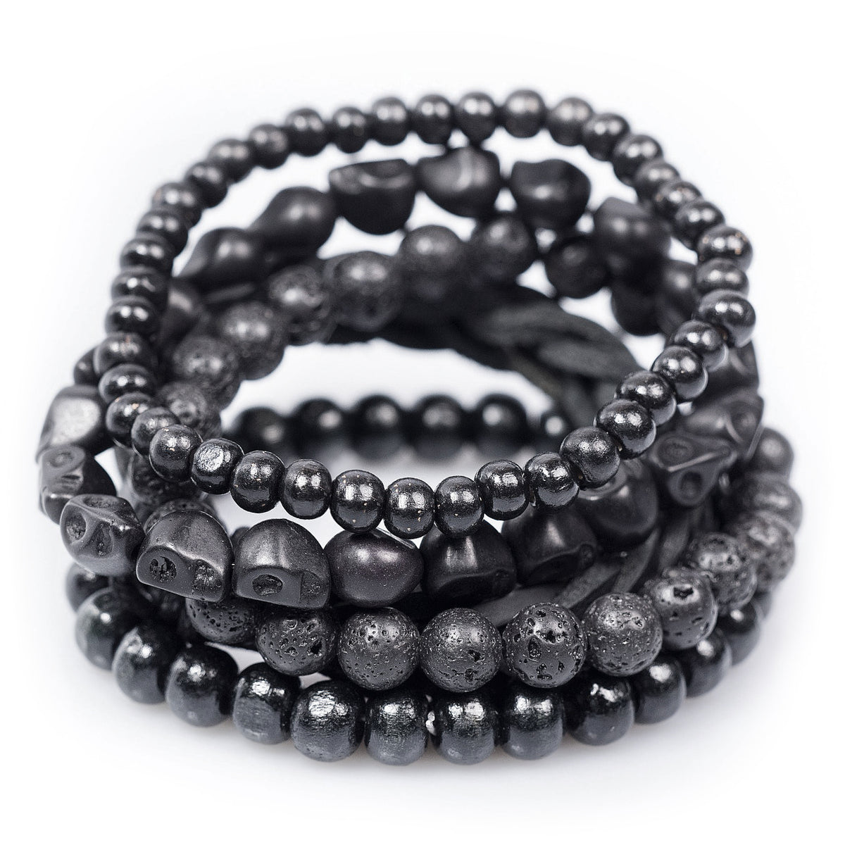 Black Bracelet Set with Bamboo Wood, Lava Stone Beads, Leather and Stone Skull Details