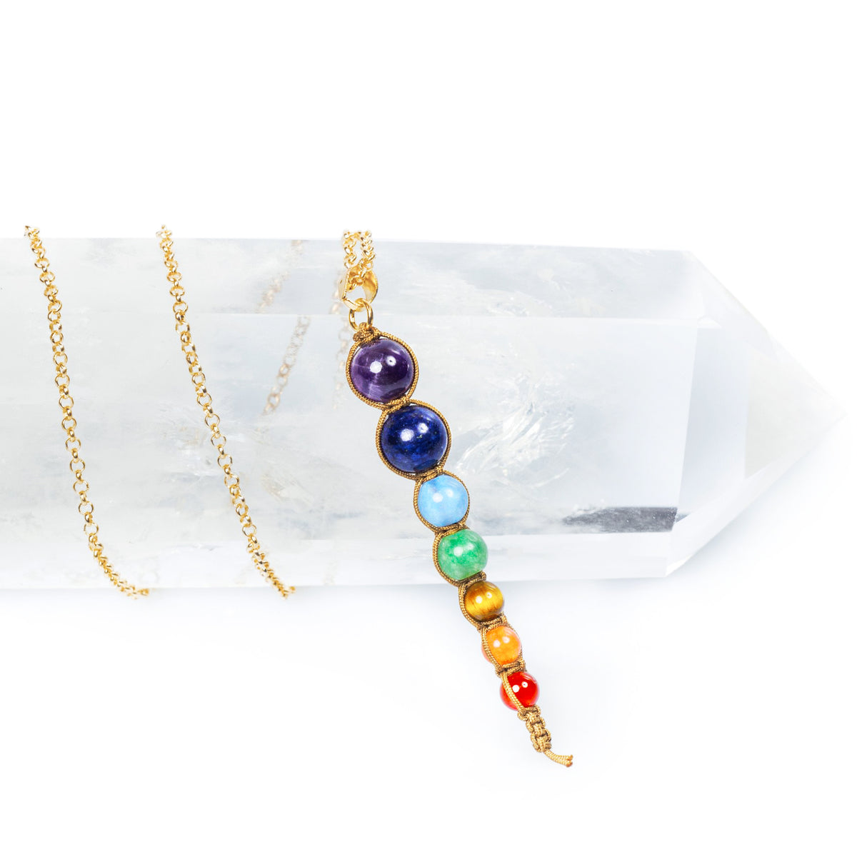 7-Bead Pendant Staggered Chakra Healing Necklace