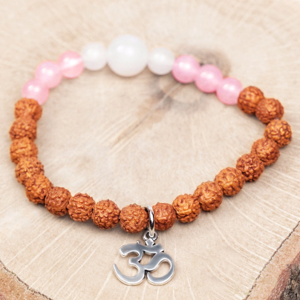 Rose Quartz, White Moonstone and Rudraksha Bead Bracelet with Om Charm