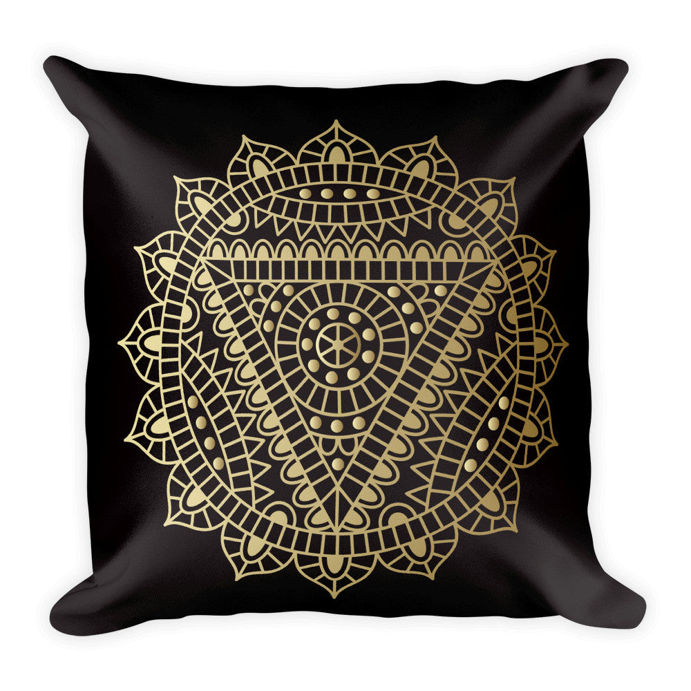 Throat Chakra in Gold on a Black Square Pillow