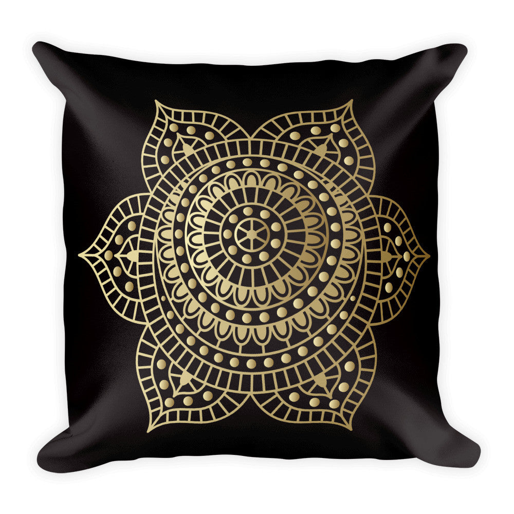Sacral Chakra in Gold on a Black Square Pillow