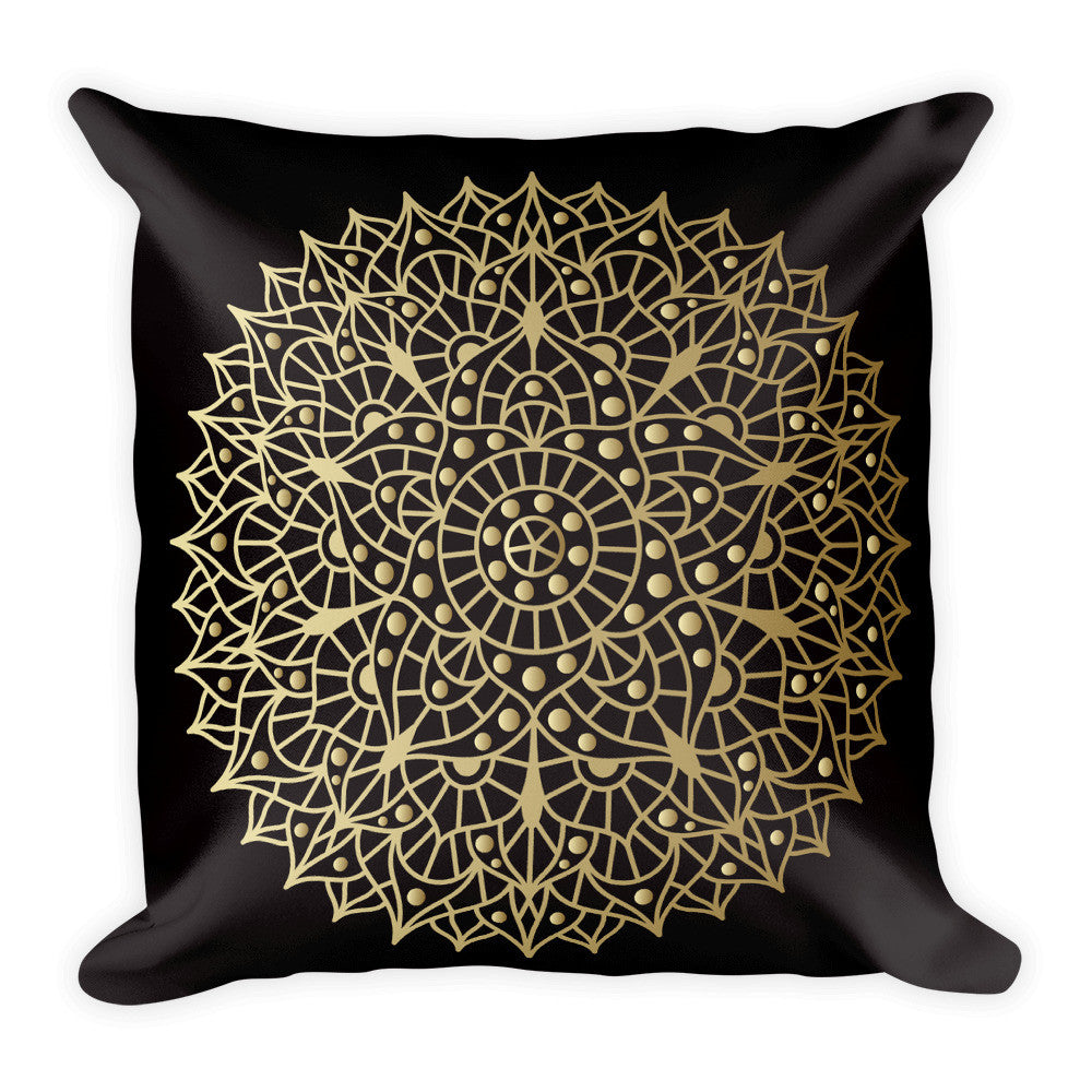 Crown Chakra in Gold on a Black Square Pillow