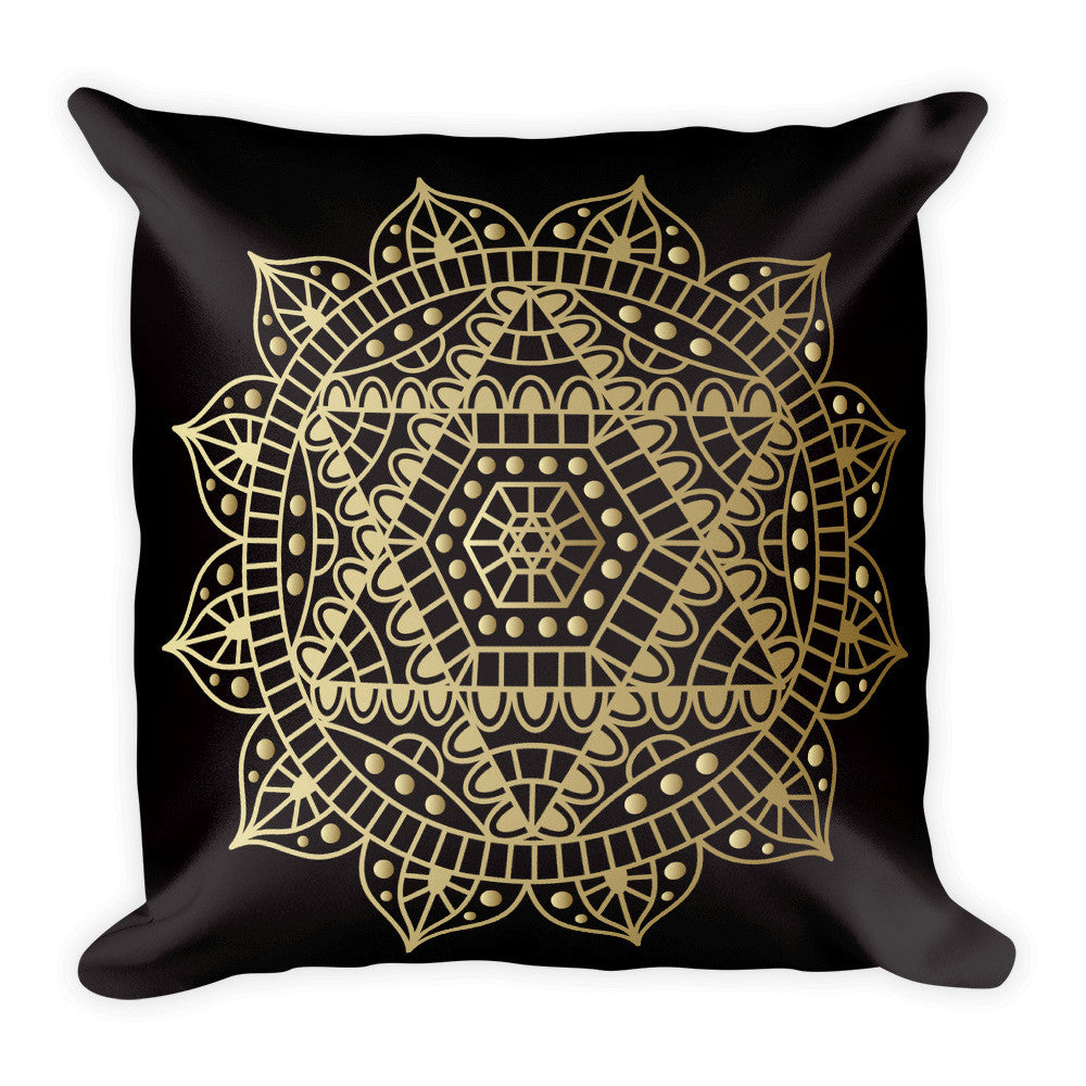 Heart Chakra in Gold on a Black Square Pillow