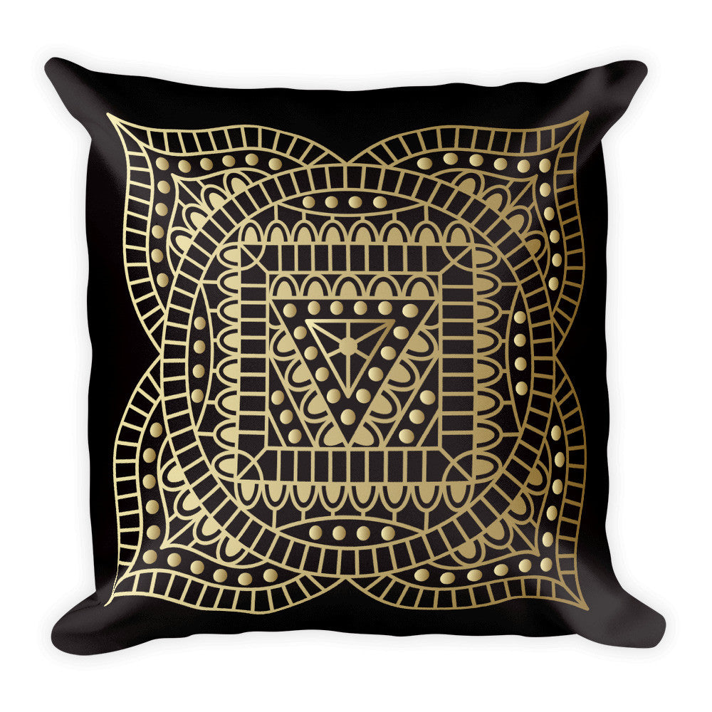 Root Chakra in Gold on a Black Square Pillow