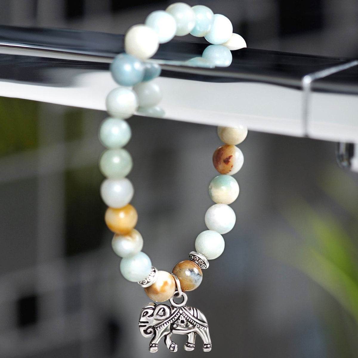 Multicolor Beads with Elephant Charm