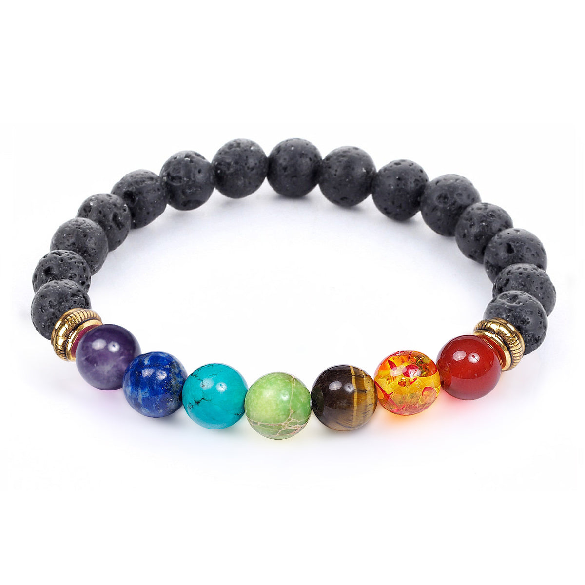 7 Chakra Meditation Healing Stress Bracelet with Lava Rocks Diffuser
