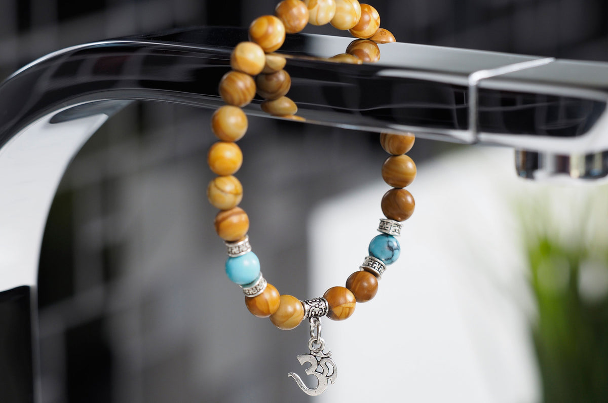 Olivewood and Turquoise Beads with Om Charm