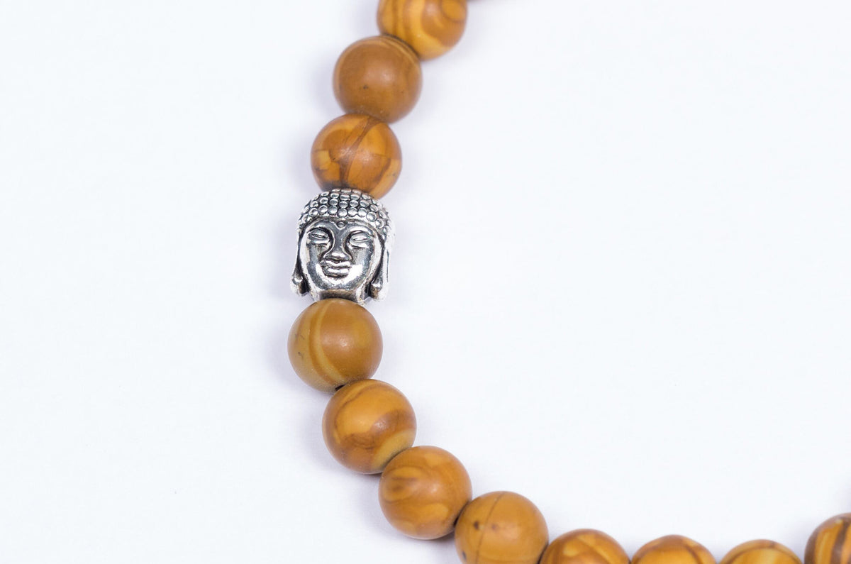 Olivewood Beads with Buddha Charm