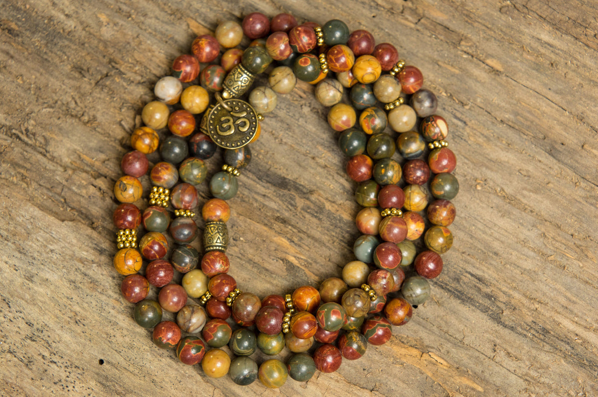 108-Bead Picasso Stone Mala with Om charm