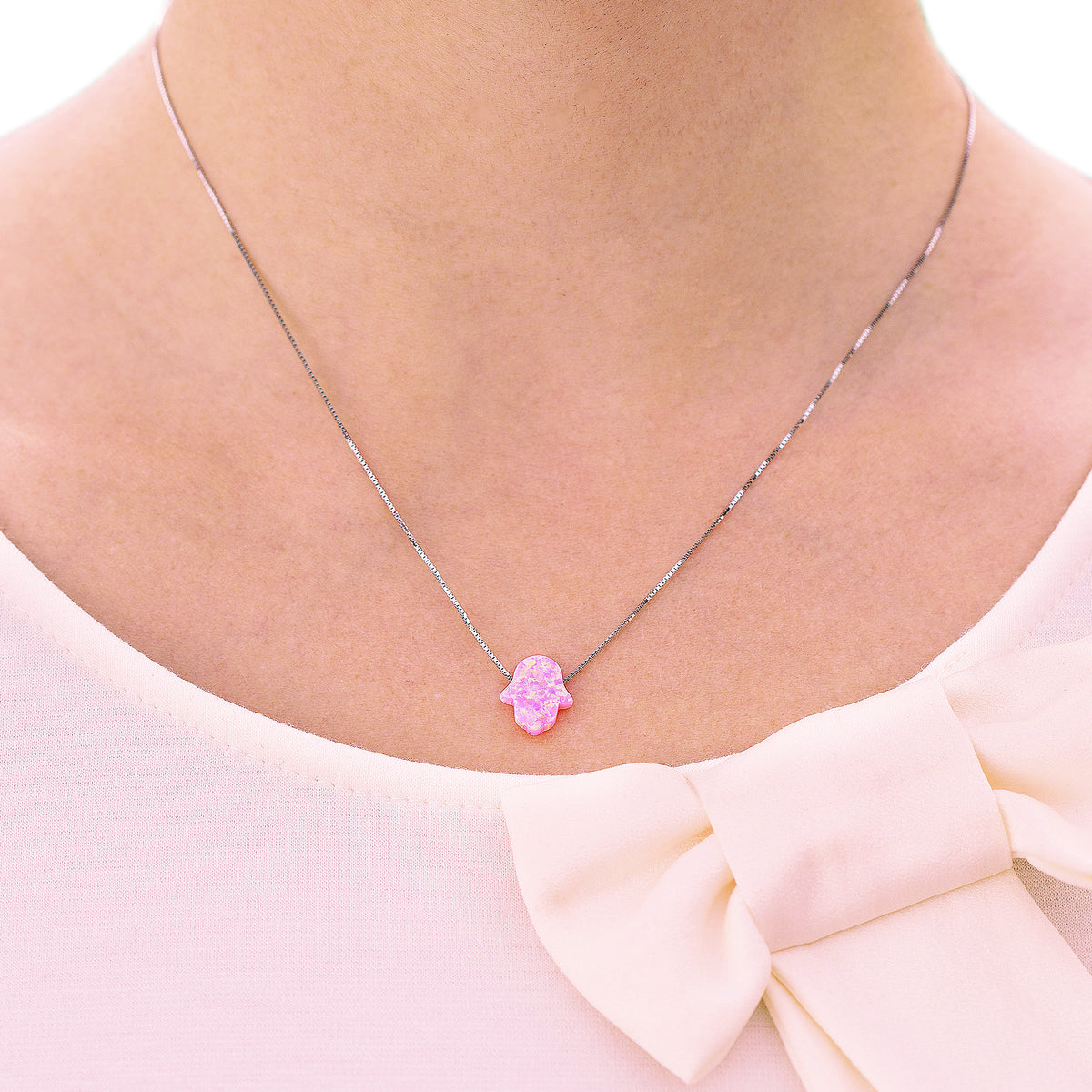 Good Luck Opal Hamsa Hand Necklace with Sterling Silver chain - Baby Pink