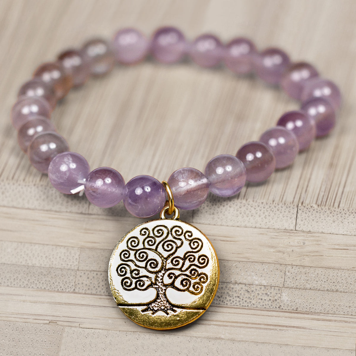 Purple Amethyst Bracelet with Tree of Life Charm