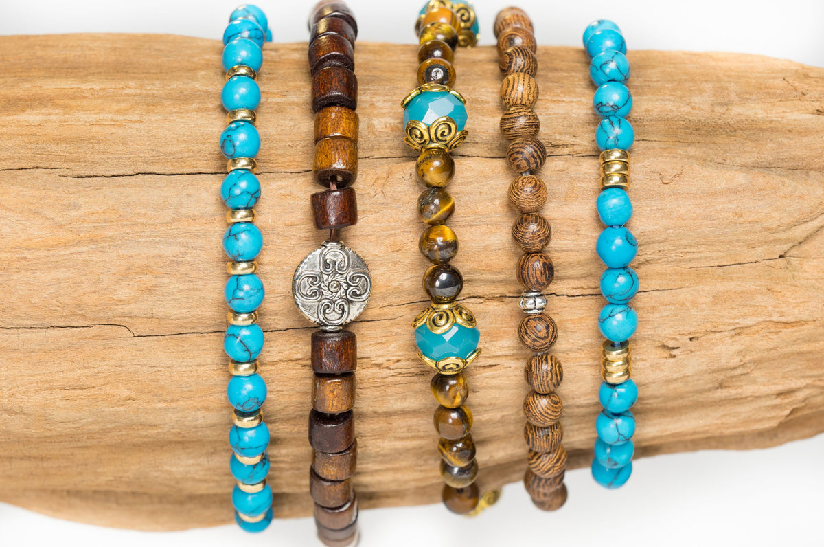 Turquoise, Tiger's Eye, Coconut Shell and Chalcedony Bracelet set