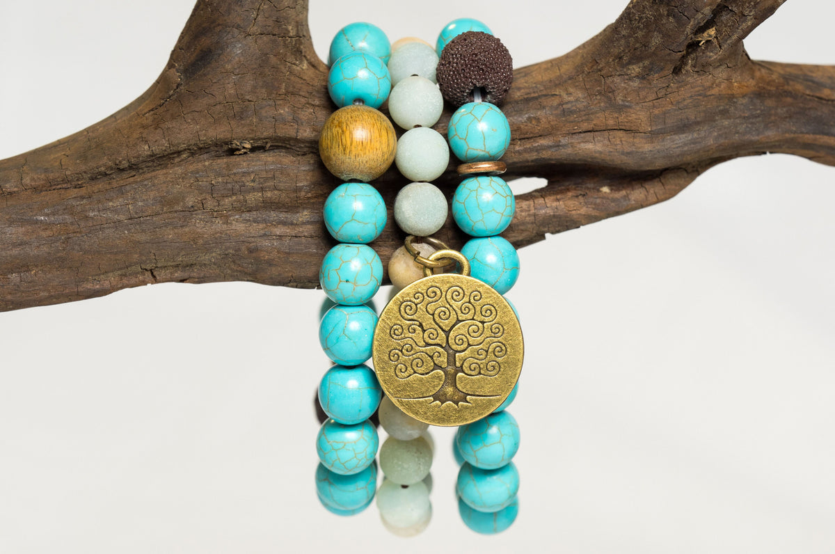 Stress Relieving Bracelet with Turquoise, Amazon Stone, and Lava Beads + Tree of Life Charm