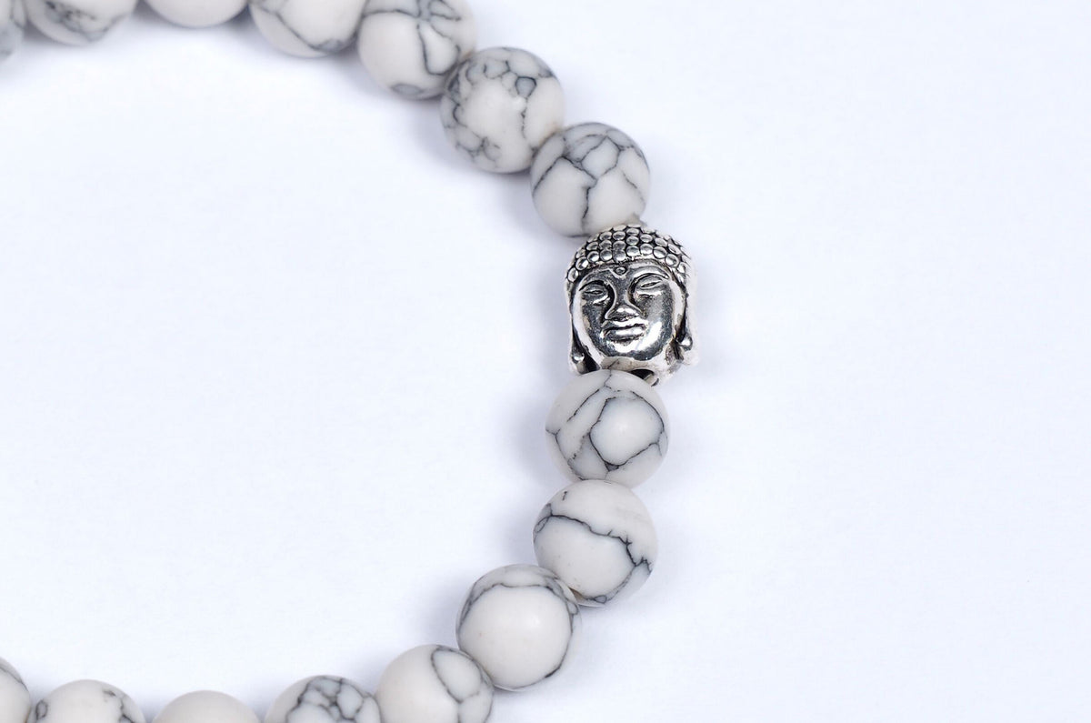 White Howlite Marble Beads with Buddha Charm - 65% off